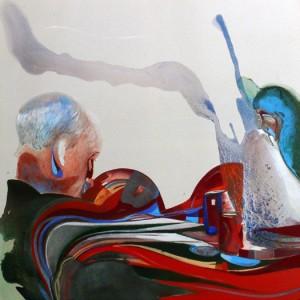 Dîner avec femme en pleurs, Acrylic on paper, 120X120, 2011