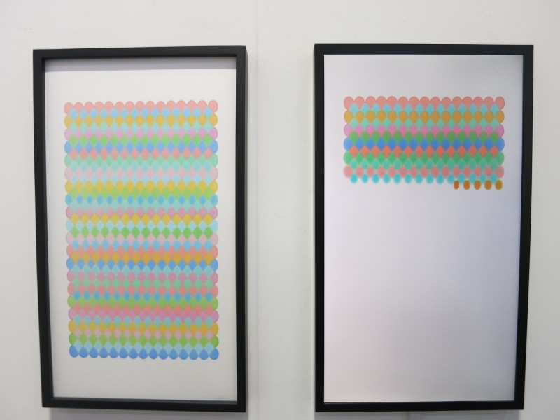 Dong Dawei,Colorful writing, marker on paper, 54x31cm video 1'16, 2017